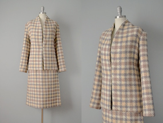 SALE: 50s Suit // 1950's Autumnal Wool Houndstooth