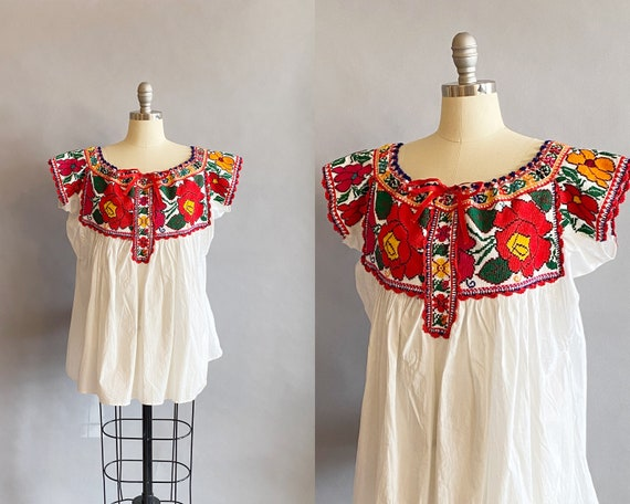 1970s Deadstock Mexican Floral Embroidered Peasant