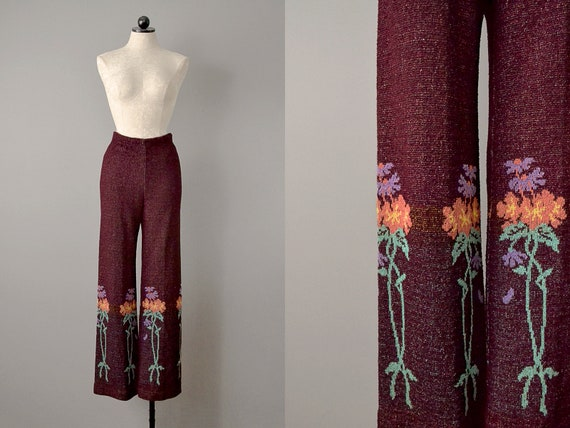 60s Pants // 1960's Betsey Johnson Knit Wool Pants
