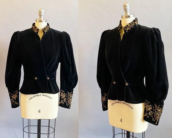 Victorian Reproduction Jacket / Black Velvet Puff