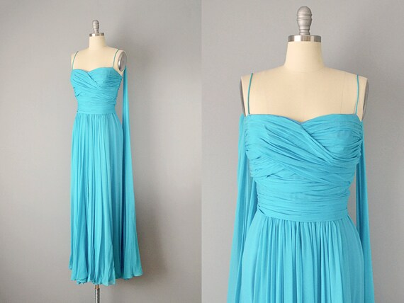 50s Dress // 1950's Peggy Hunt Turquoise Silk Chif