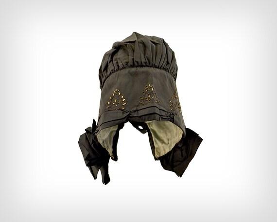 1800s Hat // Victorian Black Silk Bonnet w/ Eyele… - image 2