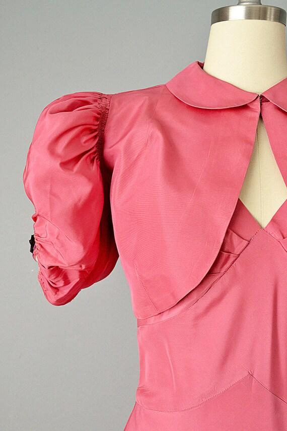 30s Dress // 1930s Pink Silk Taffeta Gown w/ Tier… - image 2