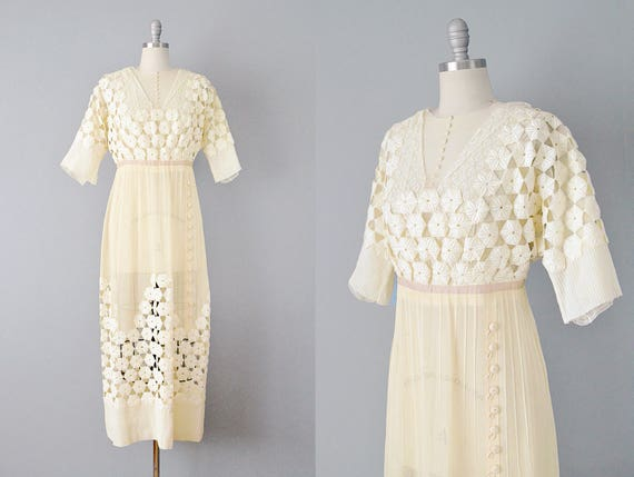 1900s Dress // Edwardian Ivory Lace Wedding Dress