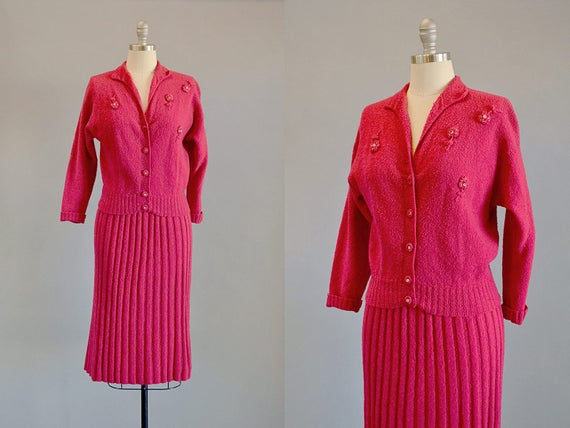 50s Set // 1950s Watermelon Knit Wool Sweater & Sk