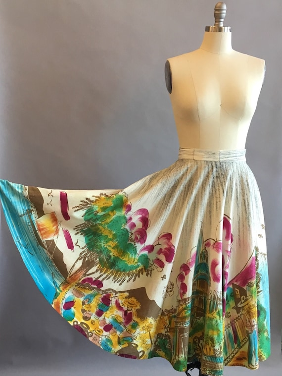 1950s Mexican Hand Painted Cotton Skirt / Souvenir