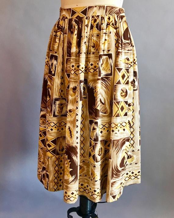 1950s Hawaiian Skirt / 50s Skirt / Novelty Print … - image 5