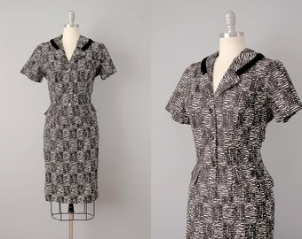 50s Suit  // Jerry Gilden 1950's B&W Summer-Weight Cotton Suit// S-M
