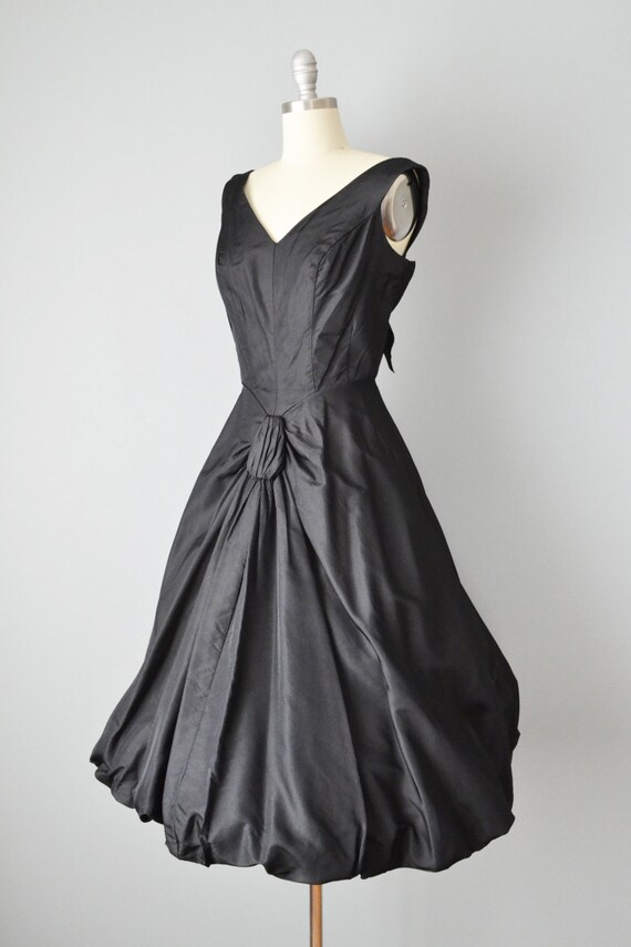 Party Dress Vintage Silk Black Dress Small 50s Taffeta SALE 1950s x1g800Z