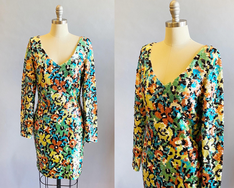 80s Dresses | Casual to Party Dresses 1980s Oleg Cassini Floral Sequin DressCocktail Size Large $0.00 AT vintagedancer.com