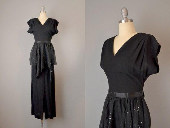 1930s Star Studded Black Silk Crepe Dress / Star-S