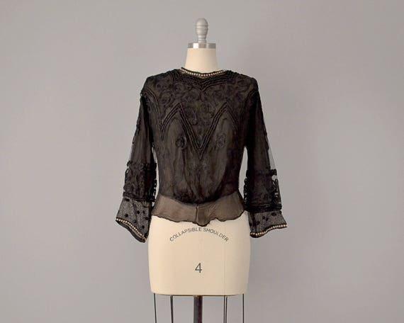 1800s Blouse // Victorian Black Silk Lace Embroide