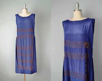20s Dress // 1920s Navy Silk Copper Beaded Flapper Dress // Medium-Large