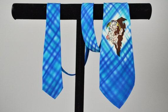 40s Necktie // 1940s Western Hand Painted Silk Cow