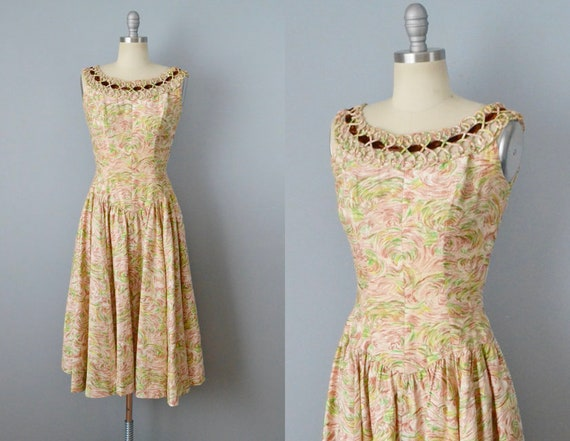 1950s Swirl Dress / 50s Day Dress / Tea Dress / Ga