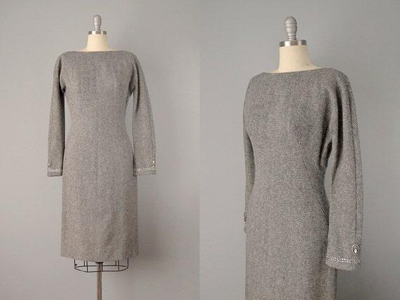 1960's Mr. Mort Grey Tweed Dress w/ Rhinestone Cuf
