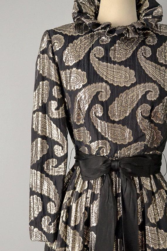 60s Dress // Ceil Chapman 1960's Black Silk Metal… - image 2