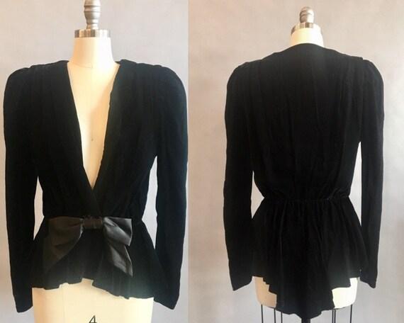 1980s Velvet Jacket / 80s Does Victorian / Plunge