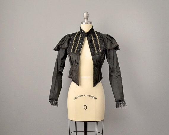 RESERVED: 1800s Jacket // Victorian Black Silk Jac