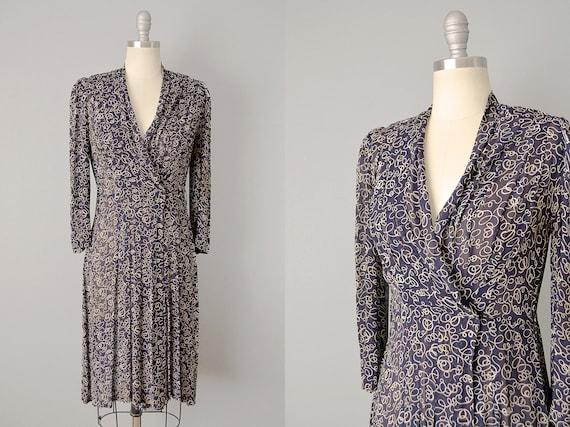 1930s Wrap Dress With Ribbon Print / Size Large