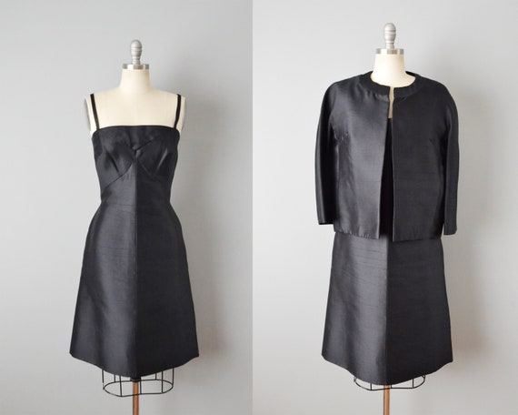 1960s Harvey Berin Dress Set / Black Cocktail Dres