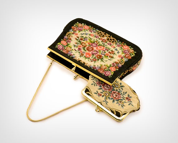 50s Purse // 1950's Needlepoint Mini-Tapestry Bag