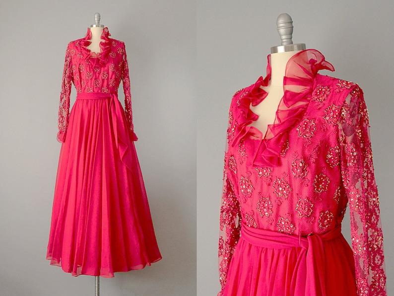 22de5b49c69 SALE  60s Dress    1960s Jack Bryan Raspberry Lace and