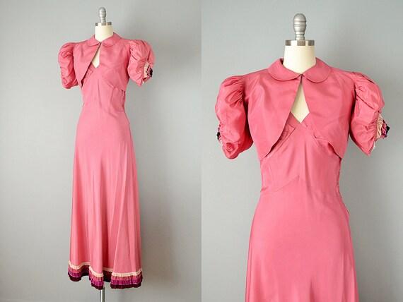 30s Dress // 1930s Pink Silk Taffeta Gown w/ Tier… - image 4