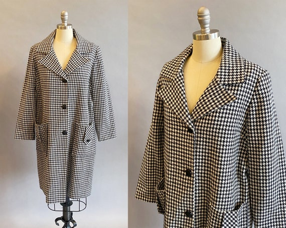 1960s Houndstooth Coat / 1960s Mod Coat / Black An