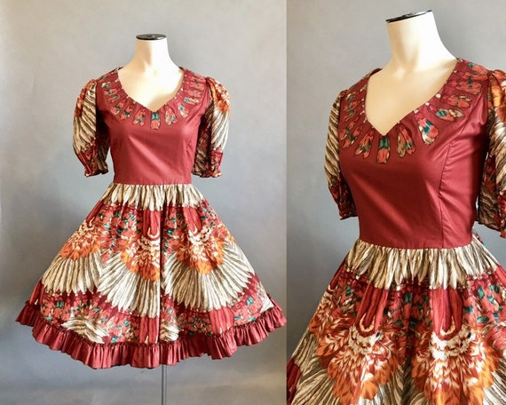 1980s Square Dance Dress / Feather Print / Dancing