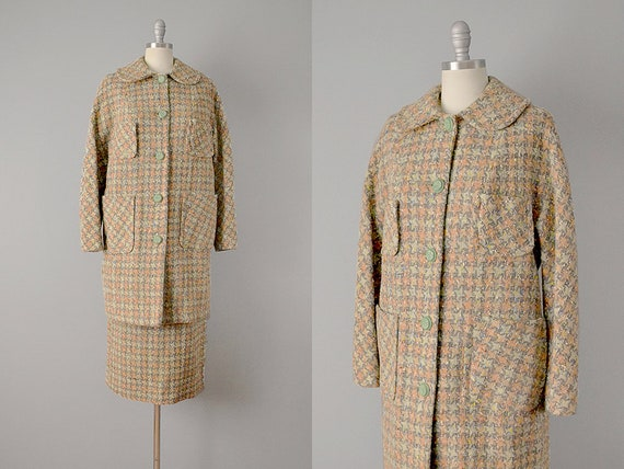 50s Suit // 1950's Houndstooth Wool Suit w/ Coat /