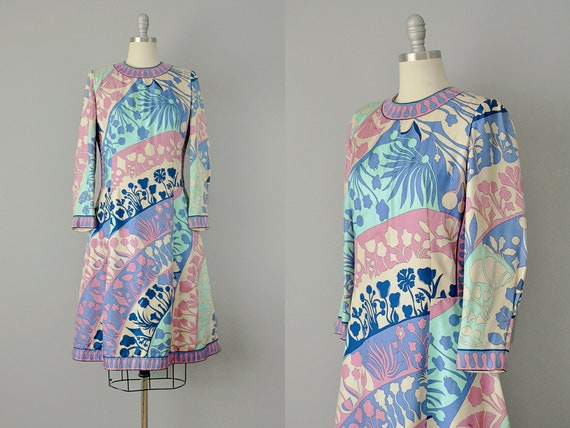 1960's Averardo Bessi Silk Floral Dress / Bold Flo