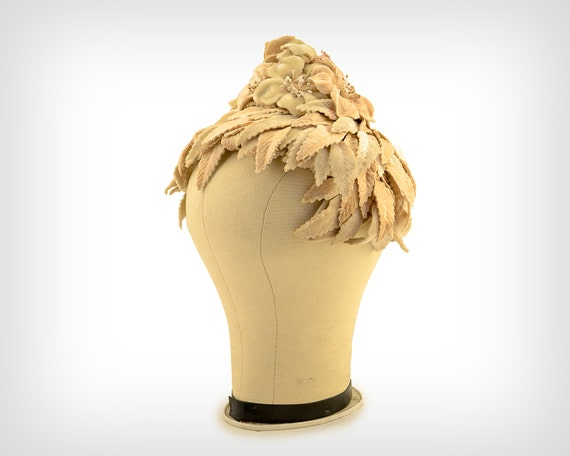 50s Hat // 1950s Velvet Ivory Leaf & Flower Hat