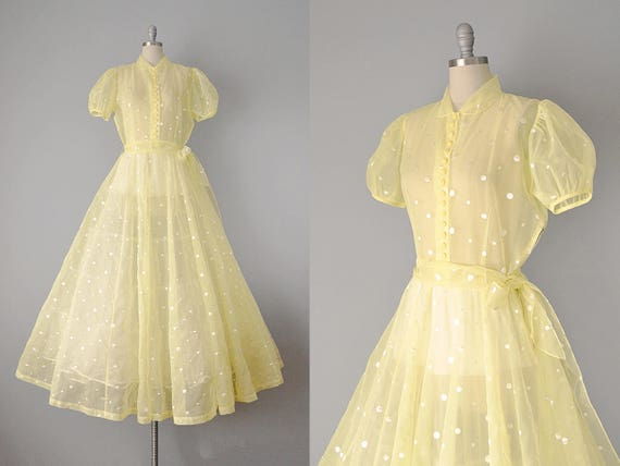 40s Dress // 1940s Yellow Embroidered Dot Organdy Gown // | Etsy