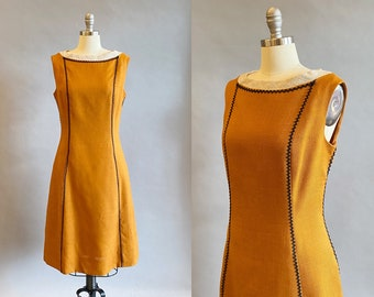 1960s Day Dress / 1960s Sheath Dress / A-Line Dress / Dress With Pockets / Ric Rac Trimmmed Dress / Size Large