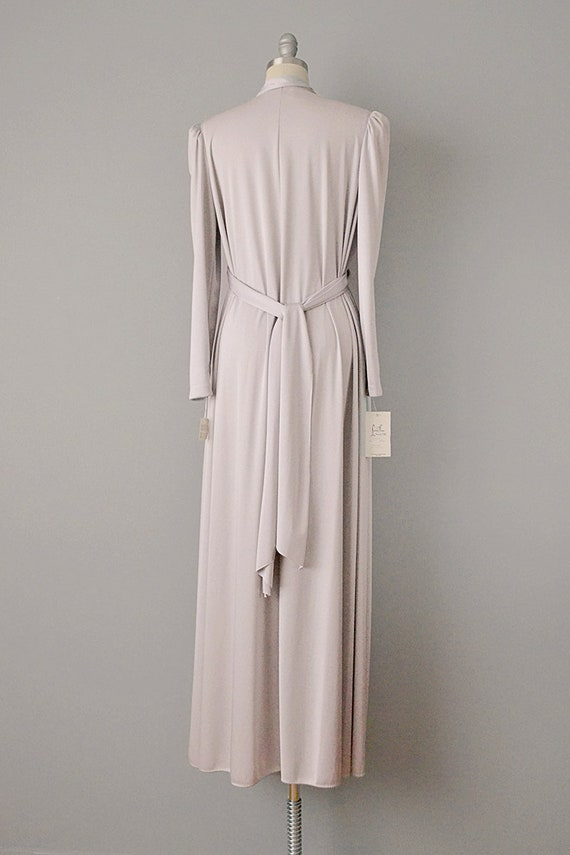 70s Dress // 1970s Lucie Ann Pearl Grey Jersey Ca… - image 4