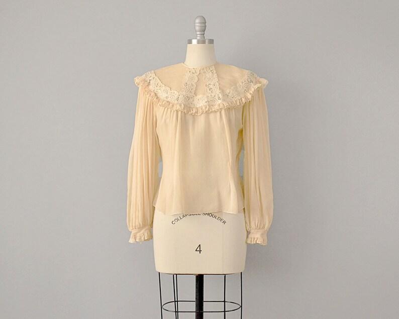 98795cc9e9ea7 40s Blouse    1940s Ecru Silk Chiffon Blouse w  Lace   Ruffle