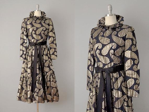 60s Dress // Ceil Chapman 1960's Black Silk Metal… - image 1