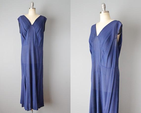 1920s Plus Size Gown / Navy Silk Dress / 20s Gatsb