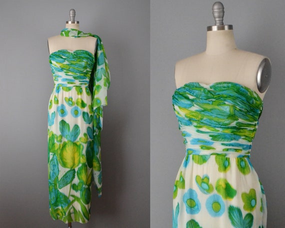 1950s Frank Starr Gown / Butterfly Print / Floral