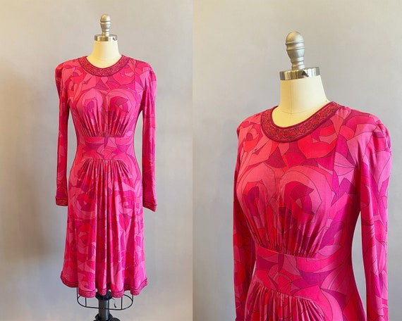 1970's Averardo Bessi Bold Floral Print Silk Dress