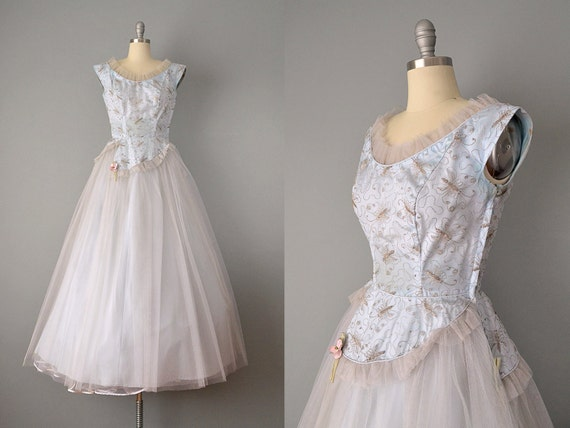 1940's Blue Tulle and Taffeta Dress w/ Embroidered