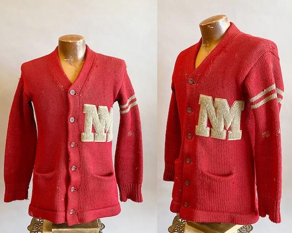 1930s Red Letterman Sweater / Vintage UNM Letterma