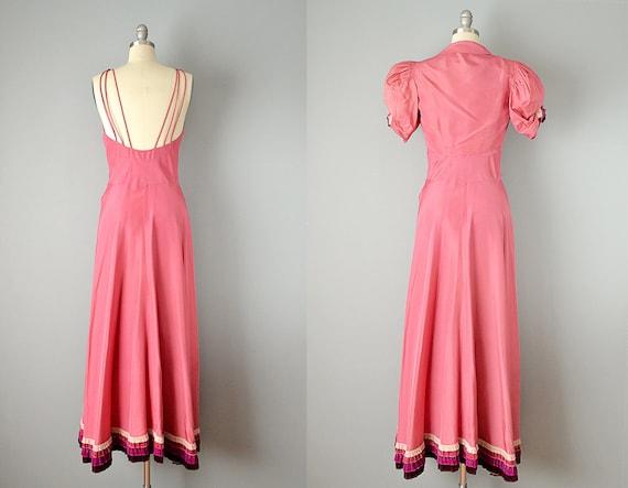 30s Dress // 1930s Pink Silk Taffeta Gown w/ Tier… - image 3