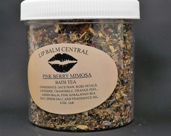 PINK SUGAR MIMOSA Bath Tea, Pink Berry Mimosa Bath Soak, with Organza Bag 6 oz Jar