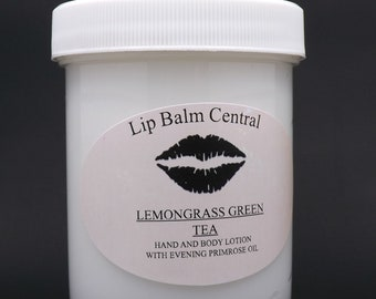LEMONGRASS GREEN TEA Hand and Body Lotion with Evening Primrose 4 ounce jar