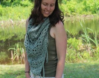 Ready-to-wear-SHAWL UNIQUE triangle crochet-Merino-Baby Alpaca-Organic cotton-Fashion accessory