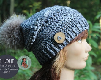 """Ready to go, La TUQUE 100% QUÉBÉCOISE- In merino and hand tint, Standard Woman """"Slouchy"""" crochet, gray"""