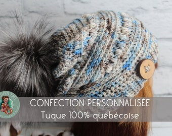 """Personalized order, La TUQUE 100% QUÉBÉCOISE- In merino and hand shade, Standard Woman """"Slouchy"""" crochet"""