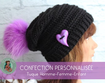 """PERSONALIZED confection Light tuque """"Slouchy"""" crochet in acrylic, Child, Woman, Man"""
